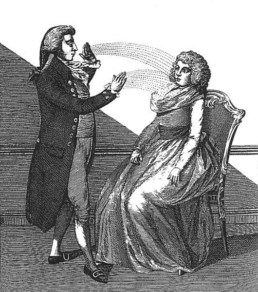 Un magnétiseur en pleine séance (17e siècle)